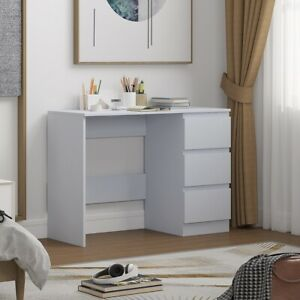 Dressing Table Study Desk with 3 Drawers in Matt Grey.Modern no-handle design.