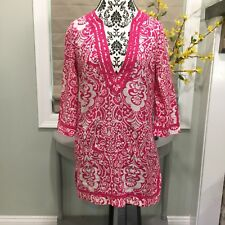 Banana Republic Pink White 3/4 Sleeve Paisley Tunic Blouse Cover Up Boho Medium
