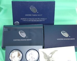 2012 TWO Coin Silver American Eagle 75th Anniversary San Francisco with Box COA