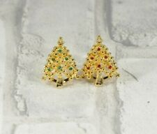 Christmas Tree Button Covers Lot of 2 Gold Tone Red & Green Rhinestones