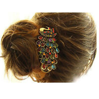 Chic Vintage Women Crystal Rhinestone Peacock Hair Barrette Clip Hairpin