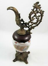 Hand Painted Porcelain and Brass Garniture