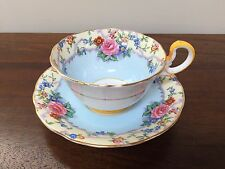 Aynsley  BLUE FLORAL Footed Cup & Saucer Set  B1534~ England
