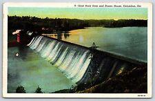 Goat Rock Dam and Power House in Columbus, Georgia Linen Postcard Unused