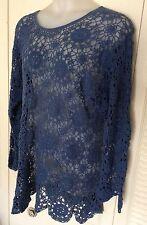 Vtg 90's Oversized Long Sleeve Blue Crochet Tunic Dress Sz Xl