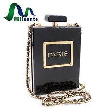 Milisente Clutch Purse Women Black Acrylic Perfume Bottle Chain Crossbody Bag