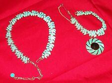 Vintage CORO Aqua Green Bracelet & Matching Necklace Set Old Costume Jewelry 7