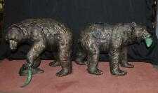 Pair French Bronze American Grizzly Bear Fountains Statues Salmon