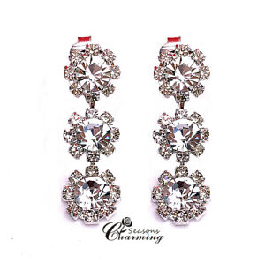 Three Swarovski Element Crystals with 18K WG Plated Long Drop Clip On Earrings