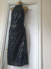 Lipsy Black Halter Sequin Lace Dress Size 18