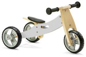 Nicko NIC808 Grey Mini Convertible Wooden Balance Bike Toddler Trike 18 months+