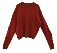 Jos A Bank Men's Small Long Sleeve Lambs Wool Blend Cable Knit Sweater Red