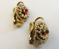 Beautiful Vintage Small Gold Tone Clip Earrings with Red Stone 1/2""