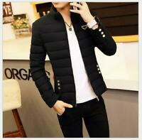 Fashion Men's Warm Winter Thick Padded Jacket Zipper Slim Fit Outwear Coat Coats