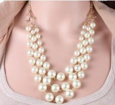 GOLD WEDDING PARTY CREAM  FAUX PEARL 3 TIER GRADUATED LINKED CHAIN NECKLACE SET