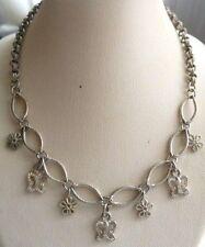 collier bijou vintage papillons couleur vieil argent règlable signé CLAIR'S 4910