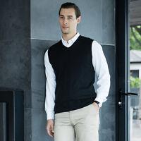 Henbury Mens Sleeveless V Neck Golf Sweater Knitted Tank Top Jumper