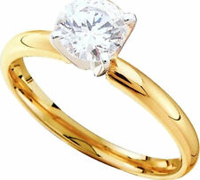 1/2Ct Round Solitaire Diamond Ring 14K Yellow Gold Tulip Setting Size 7