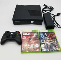 XBOX 360 S 4 GB Console Bundle - Black 2 Games Controller Cords Model 1439 Works