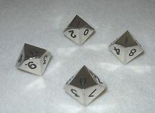 Metal Dice Set: Lot of 4x d10 (Silver Color)