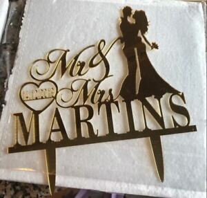 Personalized Wedding Cake Topper Mr and Mrs Surname and Date Decorative Supplies