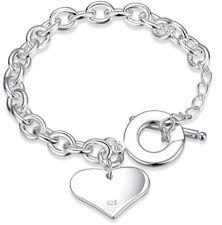 925 Sterling Silver Women's Men's Heart Bracelet Bangle +GiftPouch D483