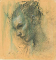 FEMME Female Portrait Study 7x7 MIXED MEDIA Charcoal Drawing REALISM Watercolor
