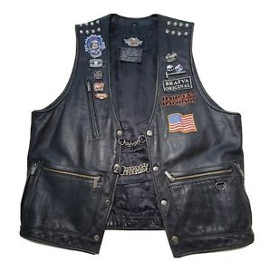 Harley Davidson Leather Studded Vest Patches Pins Mens L  Patches Pins & Chain