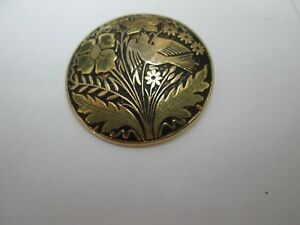 GOLD AND BLACK COLOURED FLOWER AND BIRD PATTERN BROOCH