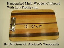 Handcrafted Multi-Wooden Clipboard With Low Profile clip. Shipped priority mail.