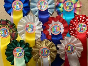 Mini Miniature rosettes Various colour logos Well Done, WOW, etc x 10, 20 or 30