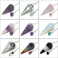 10% Off - Faceted Point Crystal Pendulum w/ Czech Glass Finger Grip, Your Choice