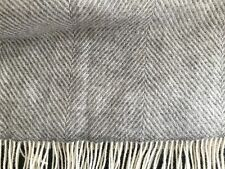 BRONTE Natural Wool Collection Throw Blanket Herringbone Grey & Cream Made in UK