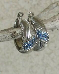 """Judith Ripka Tanzanite Hoop Earrings With Berge Texture Omega Backs Sterling 1"""""""