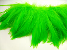"""50+ FLORESCENT GREEN SADDLE ROOSTER CRAFT HAIR FEATHER 5""""-6""""L"""