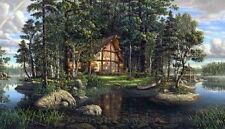 "Kim Norlien Cabin Lake Art print Freedoms Promise 18"" x 12:"""
