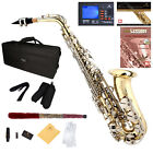 MENDINI 2-TONE ALTO SAXOPHONE SAX GOLD BODY NICKEL KEY +TUNER+CASE+CAREKIT