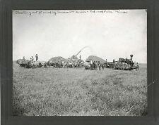 ANTIQUE PHOTO -THRESHING MACHINE STEAM  ENGINE MEN IN FIELD REDWOOD FALS, MINN.