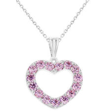 "Rhodium Plated Love CZ Pink Heart Necklace Pendant Girls Kids 16"""