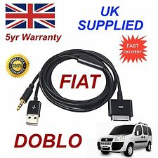 Fiat DOBLO For Apple 3gs 4 4s iPhone iPod USB 3.5mm Aux audio Cable Black