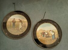 Pair Early Glass Flue Cover* Black Rim Farm Scene Peasants