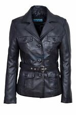 Ada Ladies 5460 Black Slim Fit Soft Leather Jacket Casual Military Collar Rock