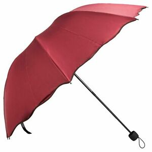 Travel Scallop Edge Windproof Anti-UV Compact Folding Sun Rain Umbrella Parasol