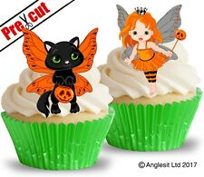 PRE-CUT HALLOWEEN FAIRY & CAT EDIBLE WAFER PAPER CUP CAKE TOPPERS DECORATIONS