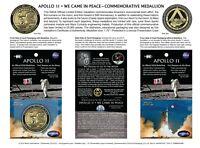 NEW APOLLO 11 50th Anniversary -BACK TO THE MOON-LUNAR FLOWN METAL MEDALLION COA