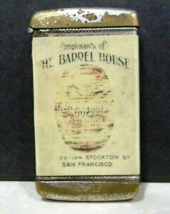 1900 Barrel House Saloon Goeppert Proprietor San Francisco Match Safe Celluloid