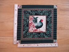 "French Rooster Green Red  (C)  Cotton Quilt Fabric Block 9 1/2"" x 9 3/4"""