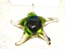 Vintage Murano Italian Glass Green Starfish Paperweight New in Box