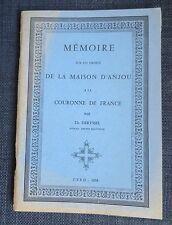 DERYSSEL Memoire sur les droits de la Maison d'anjou a la couronne de France