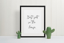 bathroom quote print - best seat in the house - funny wall art - quote print -